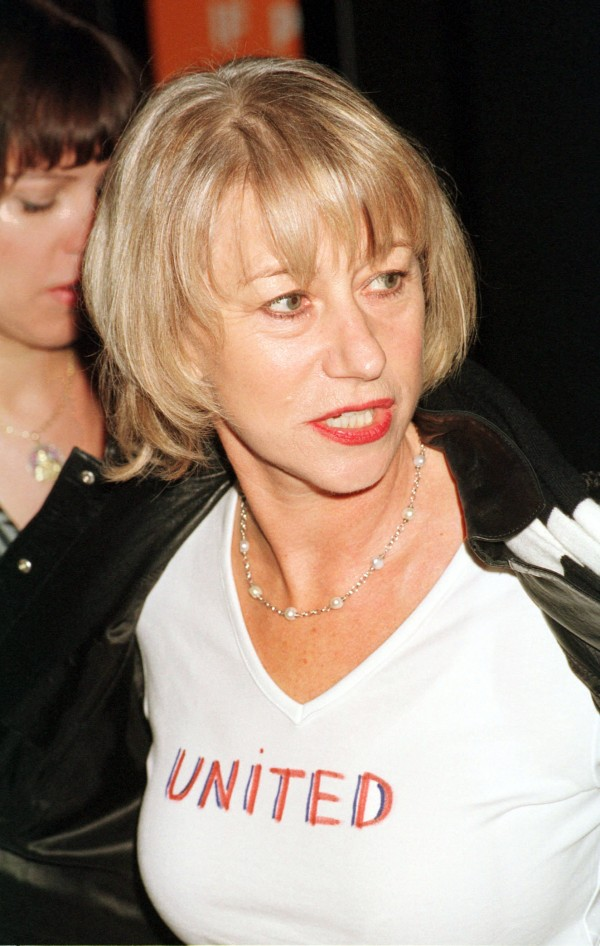 Helen Mirren wears a 'United' T-shirt to an awards event in New York shortly after 9/11