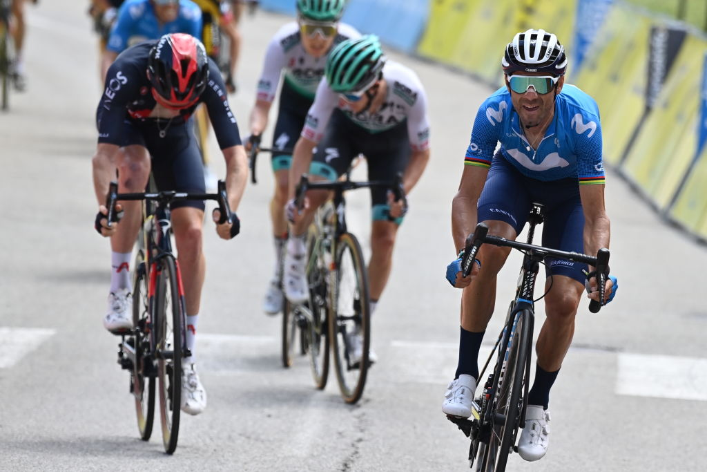 Spanish Alejandro Valverde of Movistar Team R wins before British Tao Geoghegan Hart of Ineos Grenadiers L the sprint at the finish of the sixth stage of the 73rd edition of the Criterium du Dauphine cycling race 1675 Km from LoriolsurDrome to Le SappeyenChartreuse France Friday 04 June 2021BELGA PHOTO DAVID STOCKMAN Photo by DAVID STOCKMANBELGA MAGAFP via Getty Images
