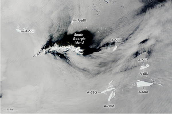 World's largest iceberg disintegrates into 'alphabet soup,' NASA photo shows