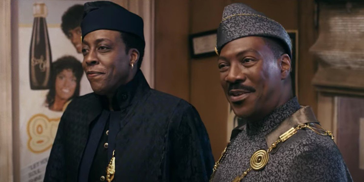 Arsenio Hall as Semmi and Eddie Murphy as Akeem in Coming 2 America (2021)