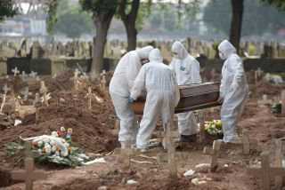 The funeral of a COVID-19 victim in Rio de Janeiro, Brazil on April 6.