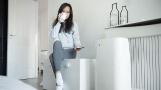 air purifiers debunked: image shows woman at home with air purifier
