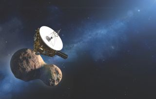NASA's New Horizons spacecraft flew by the Kuiper Belt object Ultima Thule on Jan. 1, 2019 as shown in this artist's illustration. It's the furthest planetary flyby in history.