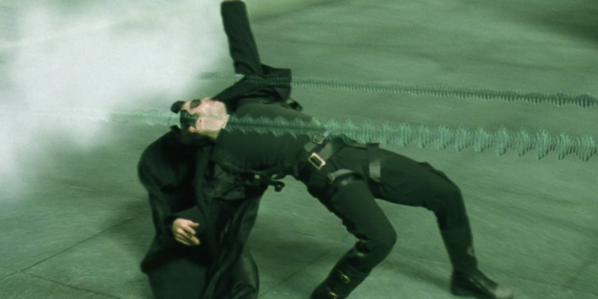Neo (Keanu Reeves) does a backbend in a scene from The Matrix