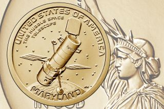 The official artwork for Maryland's entry in the U.S. Mint's American Innovation $1 coin program highlights the Hubble Space Telescope and the state's role in managing the orbiting observatory from the ground. The coin is depicted in uncirculated condition.