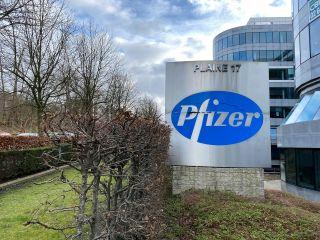 A Pfizer sign in Brussels, Belgium.
