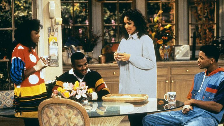 The Fresh Prince of Bel-Air family sitting around the kitchen table