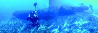 underwater stone monolith