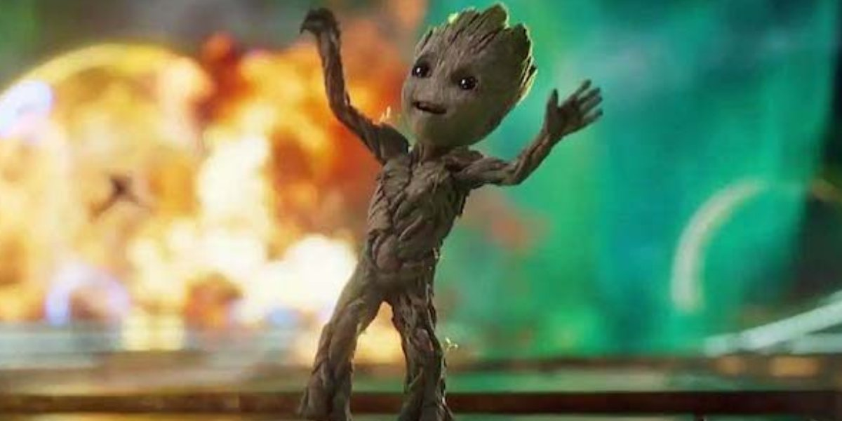Baby Groot dancing in Guardians of the Galaxy Vol. 2