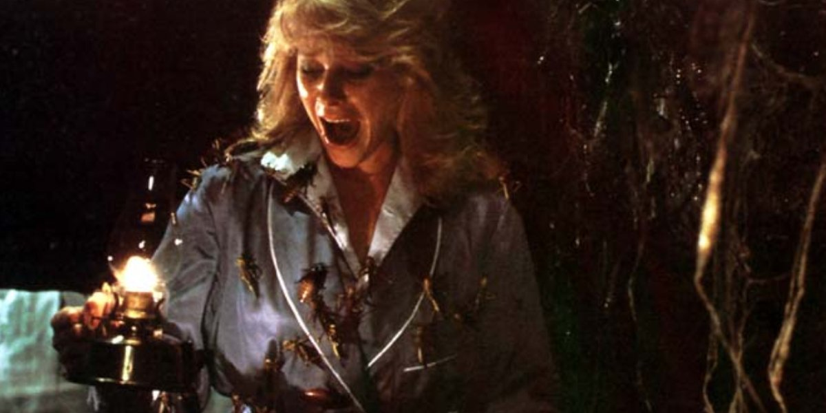 Kate Capshaw covered in bugs in Indiana Jones and the Temple of Doom