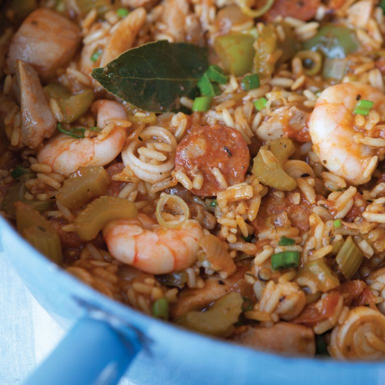 Hairy Bikers Dieters Southern style Jambalaya rice and prawns in a pan
