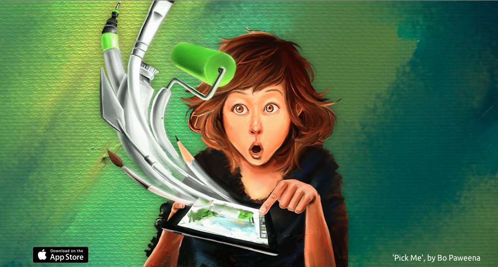 Digital illustration of a woman pressing iPad screen with tools emerging