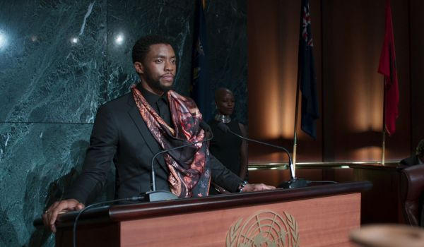 Chadwick Boseman as T'Challa at the UN in Black Panther