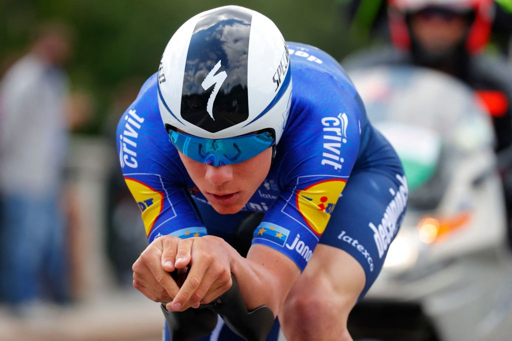 Team Deceuninck rider Belgiums Remco Evenepoel competes in the first stage of the Giro dItalia 2021 cycling race a 86 km individual time trial on May 8 2021 in Turin Photo by Luca Bettini AFP Photo by LUCA BETTINIAFP via Getty Images