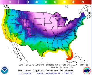 A weather map shows expected temperatures across the United States on the morning of Jan. 30.
