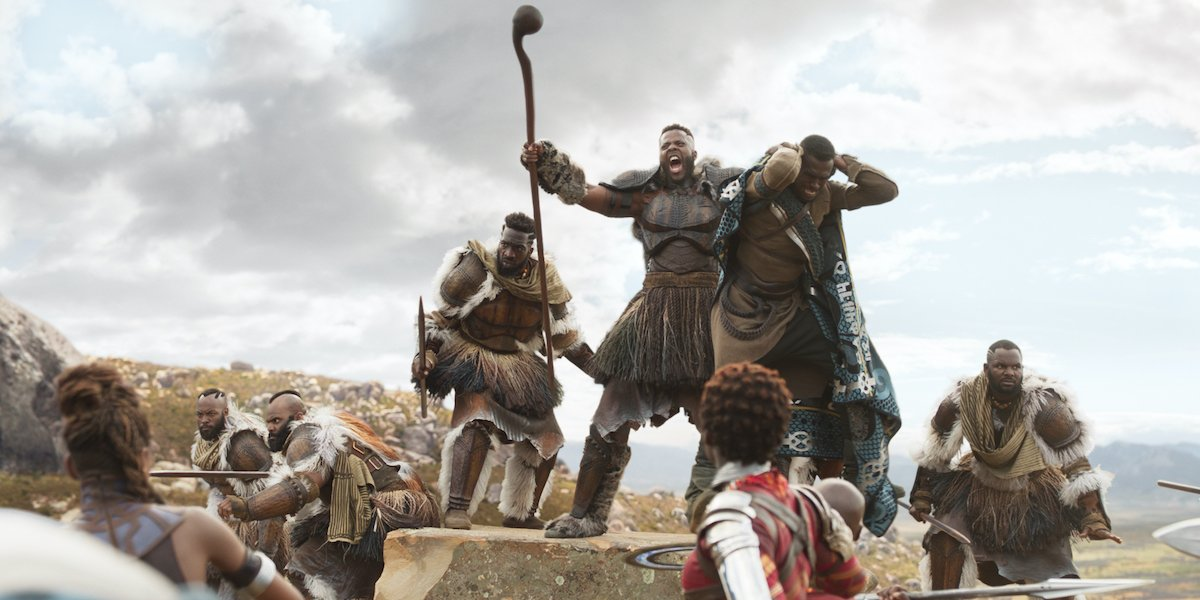 Winston Duke as M'Baku with the Black Panther cast
