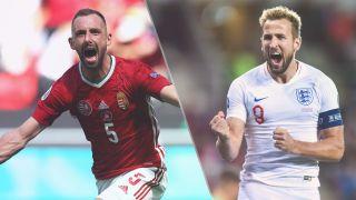 Hungary vs England live stream — Attila Fiola of Hungary and Harry Kane of England