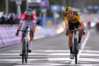 OUDENAARDE BELGIUM OCTOBER 18 Sprint Arrival Mathieu Van Der Poel of The Netherlands and Team AlpecinFenix Wout Van Aert of Belgium and Team Team Jumbo Visma during the 104th Tour of Flanders 2020 Ronde van Vlaanderen Men Elite a 2433km race from Antwerpen to Oudenaarde RVV20 FlandersClassic on October 18 2020 in Oudenaarde Belgium Photo by Luc ClaessenGetty Images