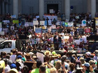 A crowd of demonstrators, gathered for the March for Science Los Angeles rally, listened to speakers in front of City Hall on April 22, 2017. On Sept. 20, 2019, demonstrators gathered once again for a global strike against climate change. For scientists, space is a great vantage point to study climate change from.