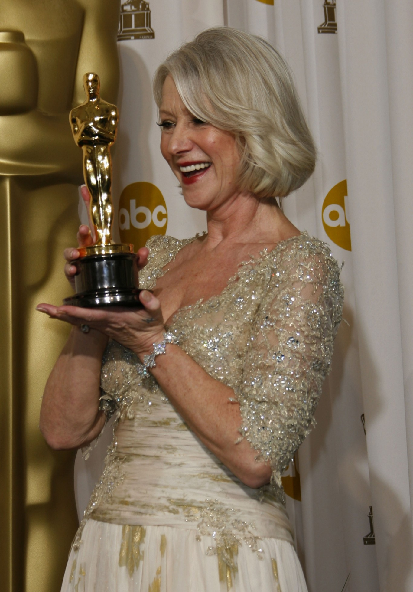 Helen Mirren with her Best Actress Oscar for The Queen