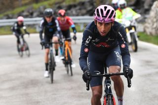 CORTINA DAMPEZZO ITALY MAY 24 Egan Arley Bernal Gomez of Colombia and Team INEOS Grenadiers Pink Leader Jersey attack in breakaway during the 104th Giro dItalia 2021 Stage 16 a 153km stage shortened due to bad weather conditions from Sacile to Cortina dAmpezzo 1210m girodiitalia Giro on May 24 2021 in Cortina dAmpezzo Italy Photo by Tim de WaeleGetty Images