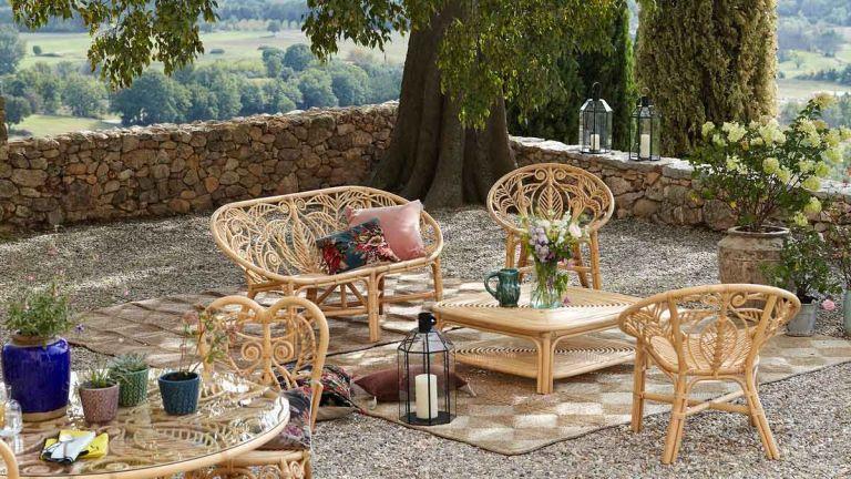 La Redoute garden furniture sale: CALAMUS Rattan Garden Bench in garden