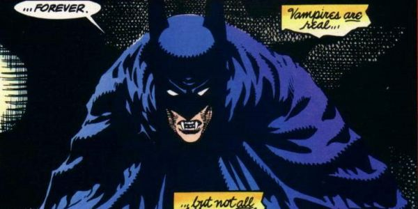 Comic book panel with batman as a vampire