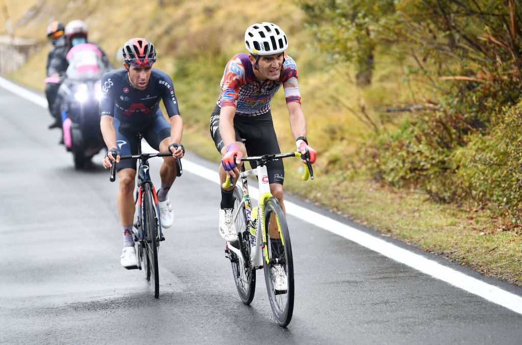 ROCCARASO ITALY OCTOBER 11 Ruben Guerreiro of Portugal and Team EF Pro Cycling Jonathan Castroviejo of Spain and Team INEOS Grenadiers Breakaway during the 103rd Giro dItalia 2020 Stage 9 a 207km stage from San Salvo to Roccaraso Aremogna 1658m girodiitalia Giro on October 11 2020 in Roccaraso Italy Photo by Tim de WaeleGetty Images
