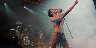 Freddie singing in Bohemian Rhapsody