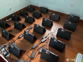 Weibo user BTCer showing off his laptop mining farms
