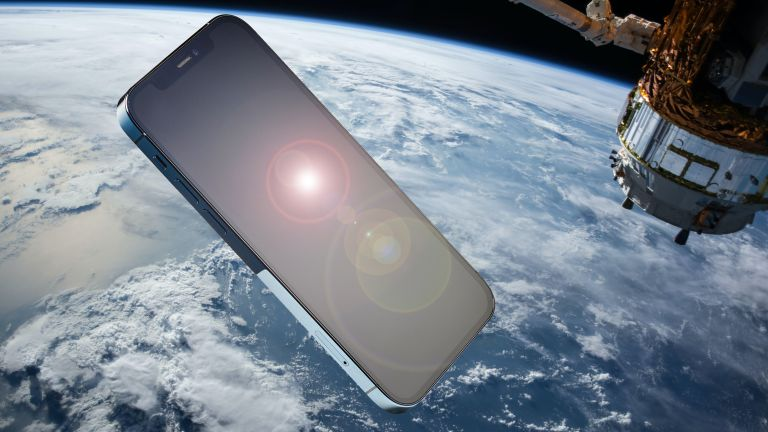 iPhone next to satellite in space