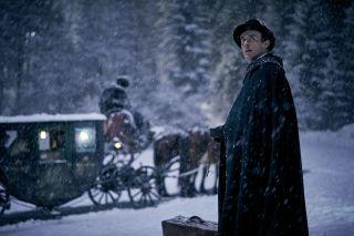 Jonathan Harker in a snowy scene in BBC1's Dracula