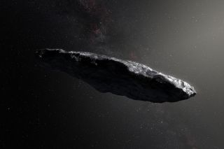 Artist's concept of 'Oumuamua, an interstellar object that was discovered zooming through our solar system in 2017. A new study determined that a small meteor that hit Earth in 2014 came from interstellar space as well.
