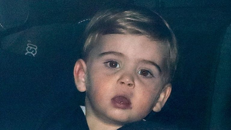 Prince Louis looks puzzled in the car
