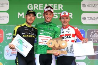 MANCHESTER ENGLAND SEPTEMBER 14 Podium Matteo Trentin of Italy and Team MitcheltonSCOTT Mathieu van der Poel of The Netherlands and Corendon Circus Cycling Team Green Leader Jersey Jasper De Buyst of Belgium and Team Lotto Soudal Celebration Trophy during the 16th Tour of Britain 2019 Stage 8 a 166km stage from Altrincham to Manchester TourofBritain OVOToB on September 14 2019 in Manchester England Photo by Stephen PondGetty Images
