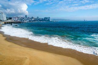 The Pacific coastline of Chile, near the city of Vina del Mar.