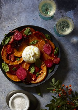 Give this luxurious burrata salad a try complete with squash and pickled beetroot