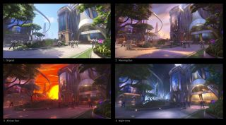 Four examples of lighting changes on Overwatch's Numbani map