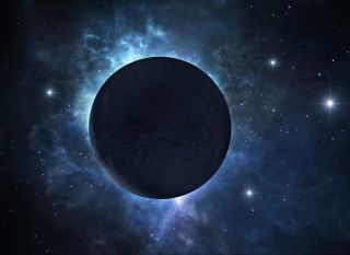 A dark exoplanet on a deep space background.