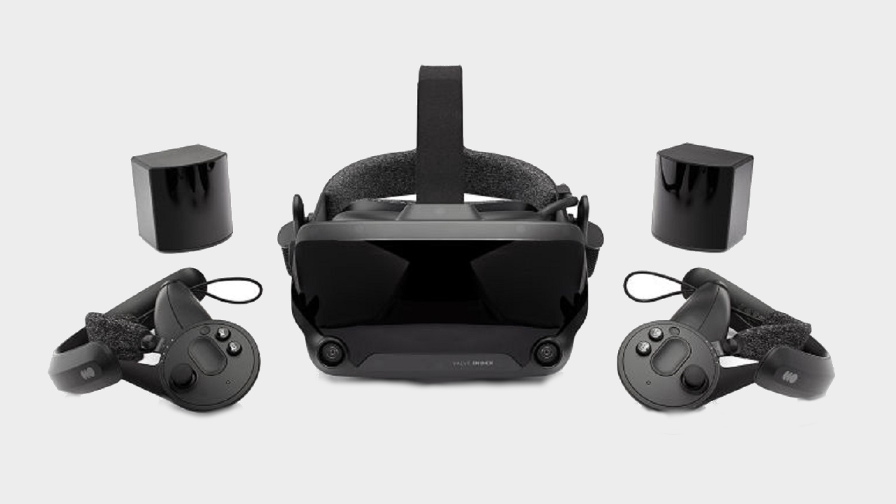 A Valve Index VR headset pictured with two controllers and base stations