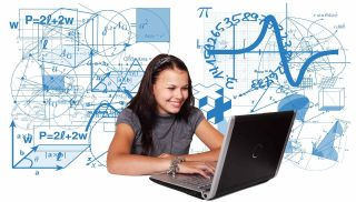 Smiling girl works on laptop computer in front of backdrop of equations and math symbols.