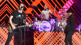 Mark Hoppus, Travis Barker, and Matt Skiba of Blink 182 perform during the 2017 Life is Beautiful Festival on September 22, 2017 in Las Vegas, Nevada.