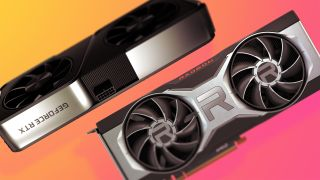 The Nvidia RTX 3070 and AMD RX 6700 XT side by side on a colourful background