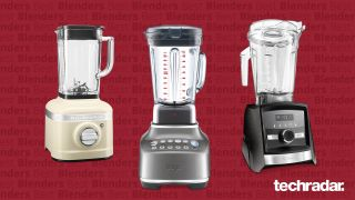 The Kitchen Aid K400, the Sage the Super Q and the Vitaxmix A3500 - the best blenders you can buy right now - on a red background)