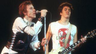 (L-R) Johnny Rotten and Steve Jones of Sex Pistols