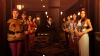 Hostesses welcome a guest to a cabaret club