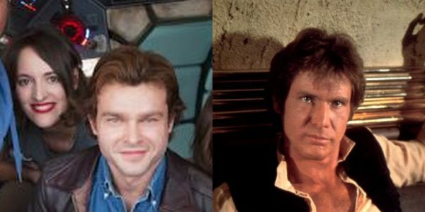Alden Ehrenreich and Harrison ford as Han Solo