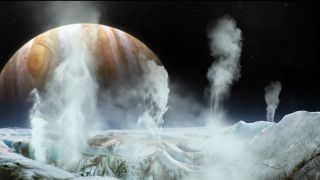An artist's illustration of water plumes erupting from the icy ocean of Jupiter's moon Europa.