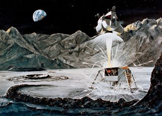 This Rocketdyne artist's concept depicts the firing of the ascent engine as the Apollo 11 Lunar Module (LM) ascent stage launches from the surface of the moon on July 21, 1969. The descent stage serves as a launch base and remained on the lunar surface.