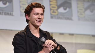 """SAN DIEGO, CA - JULY 23: Actor Tom Holland from Marvel Studios' """"Spider-Man: Homecoming"""" attends the San Diego Comic-Con International 2016 Marvel Panel in Hall H on July 23, 2016 in San Diego, California."""